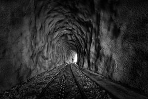 In the Bowels of the Mountain-Bw by Vito Guarino