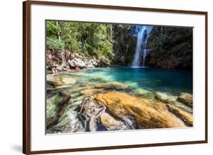 Beautiful Santa Barbara Waterfall with Crystal Clear Blue Water in the Nature, near Cavalcante, Cha by Vitor Marigo