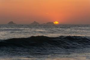 Beautiful Sunset Landscape with View to the Sea and Beautiful Mountains on the Back, Ipanema Beach, by Vitor Marigo