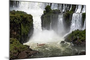 Beautiful Waterfall Landscape with Tourist Boat in the Iguazu Falls, Paran¡, Brazil by Vitor Marigo