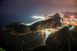 Night View from the Top of the Sugar Loaf in Rio De Janeiro, Brazil by Vitor Marigo