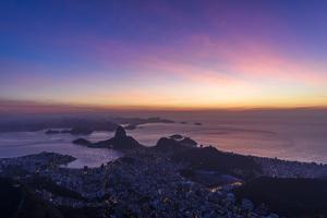 View from Corcovado Mountain to the Sugar Loaf, Tijuca National Park, Rio De Janeiro, Brazil by Vitor Marigo