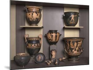 Vitrine présentant différentes formes de vases grecs