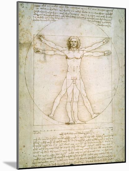 Vitruvian Man, c.1492-Leonardo da Vinci-Mounted Giclee Print