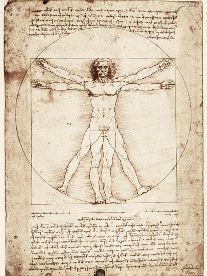 Vitruvian Man-Leonardo da Vinci-Premium Giclee Print