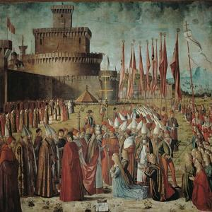 Legend of St Ursula. the Pilgrims Meet the Pope Under the Walls of Rome by Vittore Carpaccio