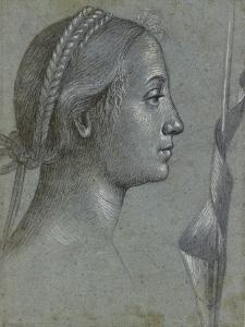 Recto: Head of a Woman with a Pennant Wound Round a Pole (Black Chalk with Brown Wash by Vittore Carpaccio