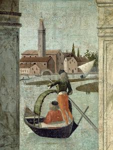 The Arrival of the English Ambassadors, from the St. Ursula Cycle, Detail of a Gondola, 1490-96 by Vittore Carpaccio