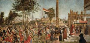 The Martyrdom of the Pilgrims and the Funeral of St. Ursula, from the St. Ursula Cycle, 1490-94 by Vittore Carpaccio