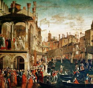 The Miracle of the Relic of the True Cross on the Rialto Bridge, 1494 by Vittore Carpaccio