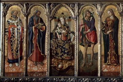 Madonna and Child with Saints (Polyptych, Five Separate Panel), C1480