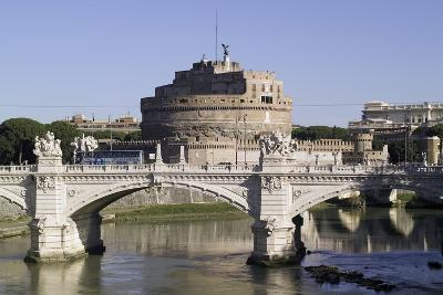 Vittorio Bridge over Tiber with Castel Sant'Angelo in Background, Rome--Photographic Print