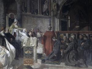 Saint Francis before Pope Innocent the Third by Vittorio Emanuele Bressanin