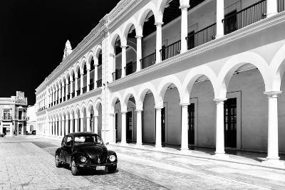 ?Viva Mexico! B&W Collection - Black VW Beetle Car in Campeche III-Philippe Hugonnard-Photographic Print