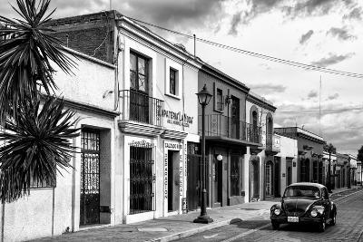 ¡Viva Mexico! B&W Collection - Black VW Beetle Car in Mexican Street II-Philippe Hugonnard-Photographic Print