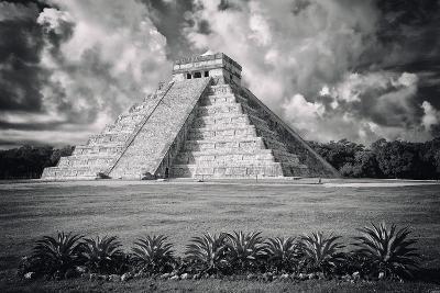 ?Viva Mexico! B&W Collection - El Castillo Pyramid VI - Chichen Itza-Philippe Hugonnard-Photographic Print