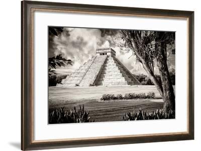 ¡Viva Mexico! B&W Collection - El Castillo Pyramid XII - Chichen Itza-Philippe Hugonnard-Framed Photographic Print