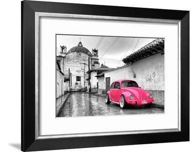 ?Viva Mexico! B&W Collection - Hot Pink VW Beetle Car in San Cristobal de Las Casas-Philippe Hugonnard-Framed Photographic Print