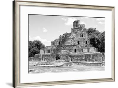 ¡Viva Mexico! B&W Collection - Maya Archaeological Site III - Campeche-Philippe Hugonnard-Framed Photographic Print