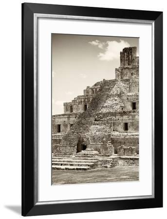 ?Viva Mexico! B&W Collection - Maya Archaeological Site IV - Campeche-Philippe Hugonnard-Framed Photographic Print