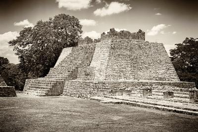 ¡Viva Mexico! B&W Collection - Maya Archaeological Site VII - Edzna-Philippe Hugonnard-Photographic Print