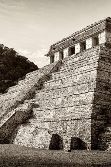 ¡Viva Mexico! B&W Collection - Mayan Temple of Inscriptions II - Palenque-Philippe Hugonnard-Photographic Print