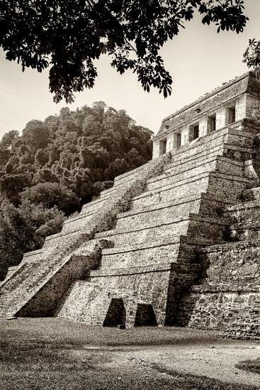 ?Viva Mexico! B&W Collection - Mayan Temple of Inscriptions in Palenque VI-Philippe Hugonnard-Photographic Print