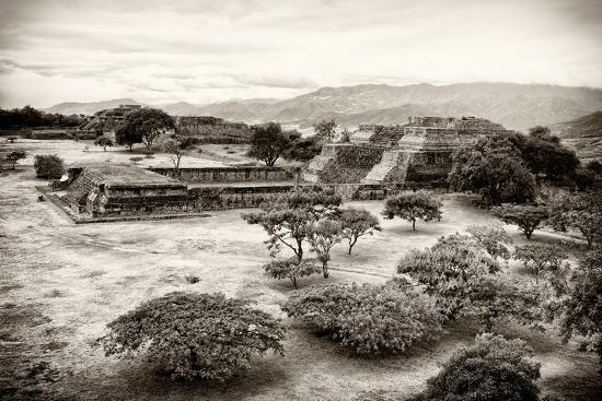 ¡Viva Mexico! B&W Collection - Monte Alban Pyramids VII-Philippe Hugonnard-Photographic Print