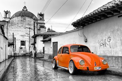 ?Viva Mexico! B&W Collection - Orange VW Beetle Car in San Cristobal de Las Casas-Philippe Hugonnard-Photographic Print