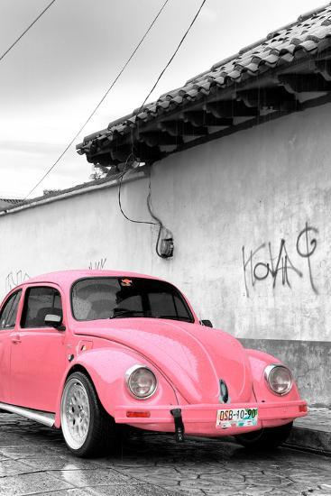 ?Viva Mexico! B&W Collection - Pink VW Beetle in San Cristobal de Las Casas-Philippe Hugonnard-Photographic Print