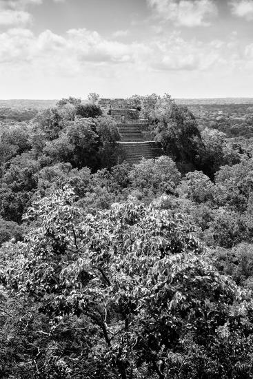 ¡Viva Mexico! B&W Collection - Ruins of the ancient Mayan city of Calakmul II-Philippe Hugonnard-Photographic Print