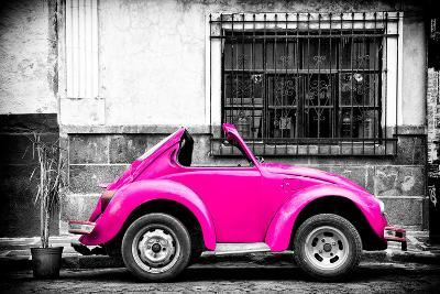 ?Viva Mexico! B&W Collection - Small Deep Pink VW Beetle Car-Philippe Hugonnard-Photographic Print