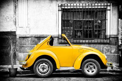 ¡Viva Mexico! B&W Collection - Small Gold VW Beetle Car-Philippe Hugonnard-Photographic Print