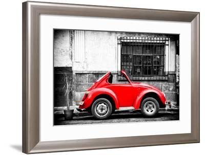¡Viva Mexico! B&W Collection - Small Red VW Beetle Car-Philippe Hugonnard-Framed Photographic Print