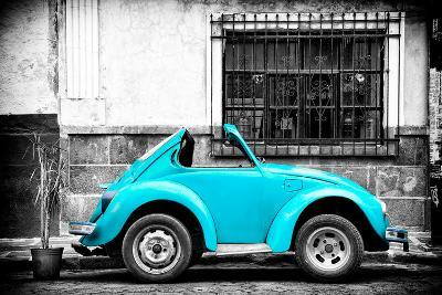 ?Viva Mexico! B&W Collection - Small Turquoise VW Beetle Car-Philippe Hugonnard-Photographic Print