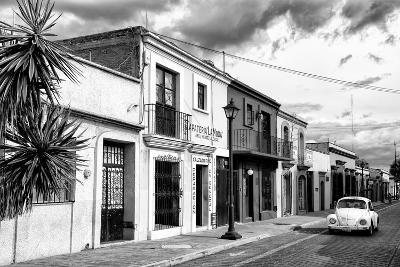 ?Viva Mexico! B&W Collection - White VW Beetle Car in Mexican Street II-Philippe Hugonnard-Photographic Print