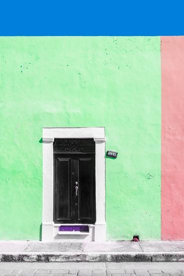 ?Viva Mexico! Collection - 124 Street Campeche - Green & Hot Pink Wall-Philippe Hugonnard-Photographic Print