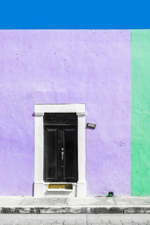 ¡Viva Mexico! Collection - 124 Street Campeche - Mauve & Green Wall-Philippe Hugonnard-Photographic Print