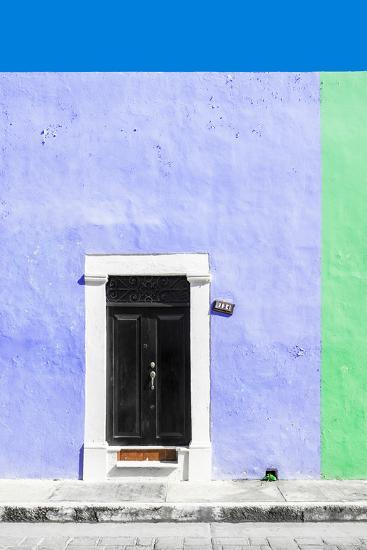 ¡Viva Mexico! Collection - 124 Street Campeche - Purple & Green Wall-Philippe Hugonnard-Photographic Print