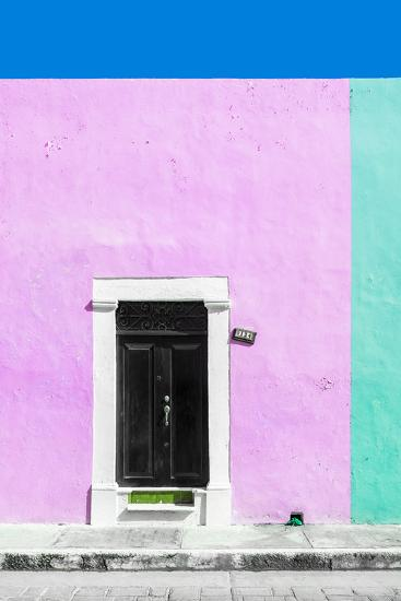 ?Viva Mexico! Collection - 124 Street Campeche - Thistle & Coral Green Wall-Philippe Hugonnard-Photographic Print