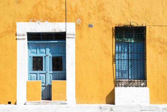 ¡Viva Mexico! Collection - 130 Street Campeche - Dark Yellow Wall-Philippe Hugonnard-Photographic Print