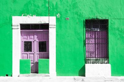 ¡Viva Mexico! Collection - 130 Street Campeche - Green Wall-Philippe Hugonnard-Photographic Print