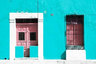 ?Viva Mexico! Collection - 130 Street Campeche - Turquoise Wall-Philippe Hugonnard-Photographic Print