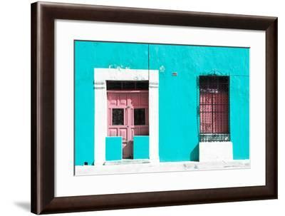 ¡Viva Mexico! Collection - 130 Street Campeche - Turquoise Wall-Philippe Hugonnard-Framed Photographic Print
