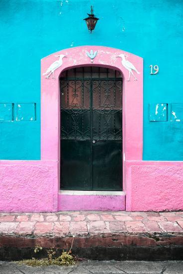 ¡Viva Mexico! Collection - 19e Door and Light Blue Wall-Philippe Hugonnard-Photographic Print