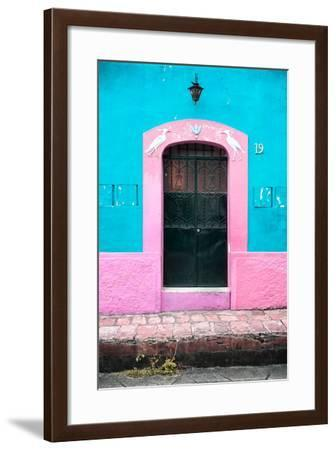 ¡Viva Mexico! Collection - 19e Door and Light Blue Wall-Philippe Hugonnard-Framed Photographic Print
