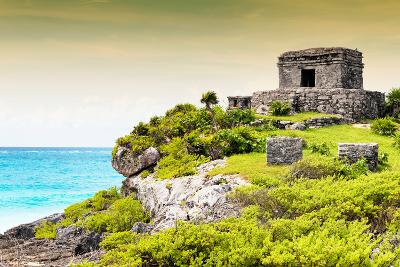 ¡Viva Mexico! Collection - Ancient Mayan Fortress in Riviera Maya at Sunset - Tulum-Philippe Hugonnard-Photographic Print