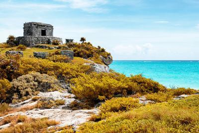 ¡Viva Mexico! Collection - Ancient Mayan Fortress in Riviera Maya with Fall Colors - Tulum-Philippe Hugonnard-Photographic Print