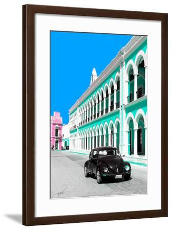 ¡Viva Mexico! Collection - Black VW Beetle and Coral Green Architecture - Campeche-Philippe Hugonnard-Framed Photographic Print