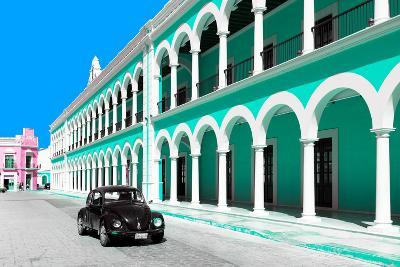 ?Viva Mexico! Collection - Black VW Beetle and Coral Green Architecture in Campeche-Philippe Hugonnard-Photographic Print